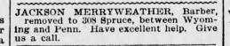 Jackson Merryweather, Barber. 308 Spruce Street. The Scranton Republican 1900 Advertisement.