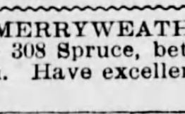 Jackson Merryweather, Barber. 308 Spruce Street. The Scranton Republican 1900 Advertisement.