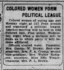 """Colored Women Form Political League"" The Scranton Republican (Scranton, Pennsylvania) 29 Sept 1920, Wed page 14."