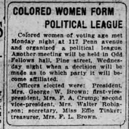 """Colored Women Form Political League"" The Scranton Republican (Scranton, Pennsylvania) 29 Sept 1920, Wed page 14."