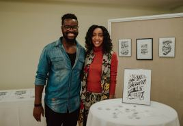 Artist Emmanuel Adjei and Black Scranton Project Founder Glynis Johns