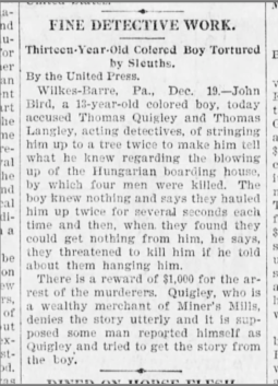 """""""Thirteen-Year-Old Colored Boy Tortured by Sleuths"""" (1894)"""